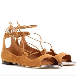 Jimmy Choo Vernie Suede Lace-Up Flats